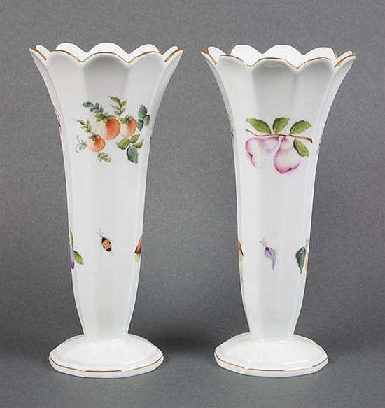 Pair of Herend porcelain flared top trumpet vases in the