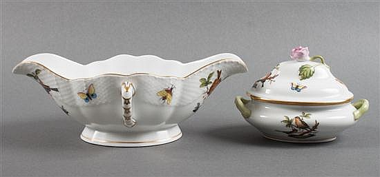 Herend porcelain two-lipped sauceboat, and covered sauceboat in the