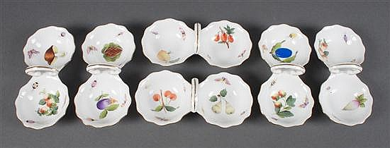 Six Herend porcelain double-salt handled dishes in the