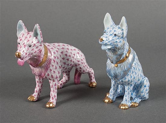 Two Herend porcelain German shepherd dogs in the