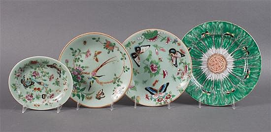 Pair of Chinese Export Famille Rose celadon porcelain dessert plates, sauce tureen underplate, and cabbage leaf luncheon plate