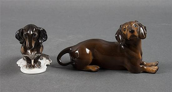 Two Rosenthal porcelain dachshunds