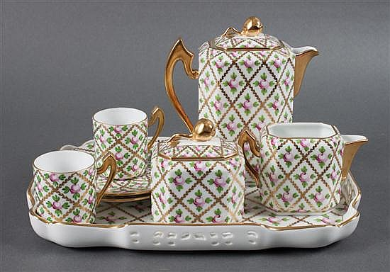 Herend porcelain eight-piece tea set in the