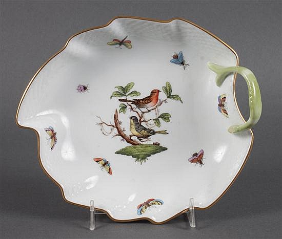 Herend porcelain leaf-form candy dish in the