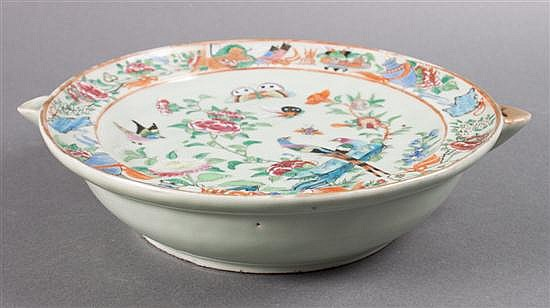 Chinese Export Famille Rose on celadon porcelain hot water plate