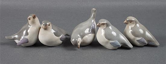 Three German porcelain birds and similar porcelain bird group