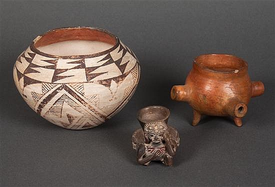 Zuni painted terracotta jar together with a Mexican terracotta pipe bowl and a Pre-Columbian style figural jar