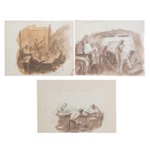 Aaron Sopher. Three Newspaper Themed Drawings