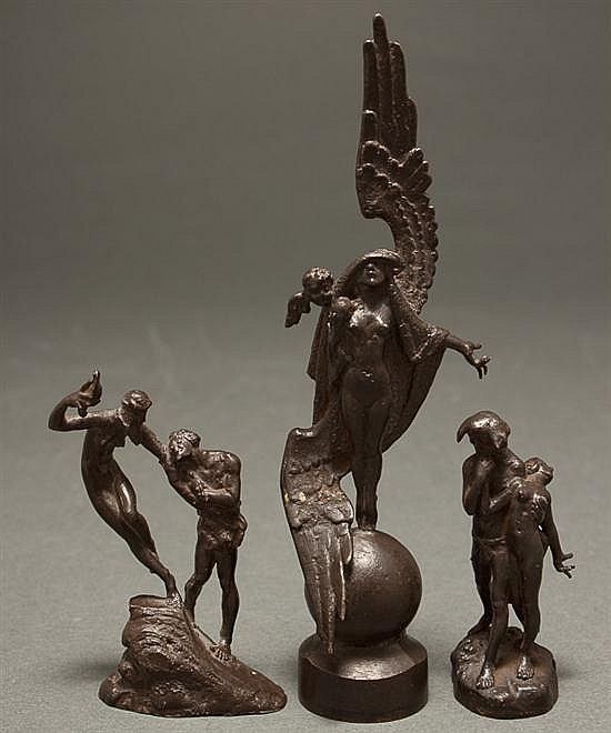 Louis Chatel Rosenthal, Russian/American, 1888-1964, Three patinated bronze miniature figural groups, 1) Harpy, 5 in. H., 2) Adam an...