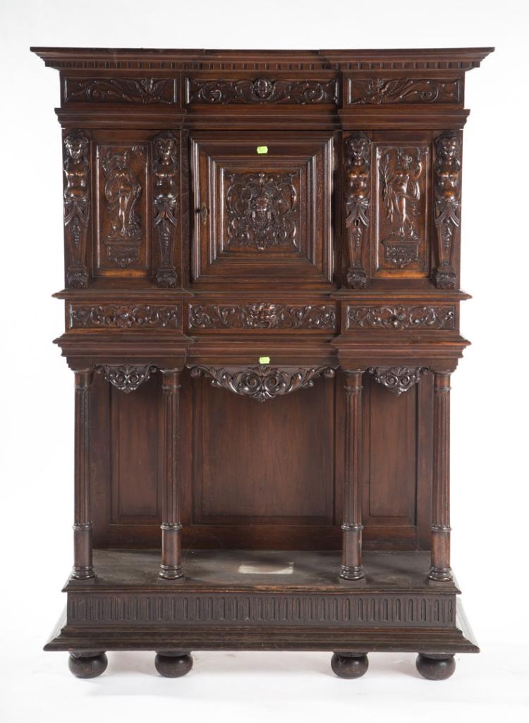 henri ii carved walnut cabinet on stand. Black Bedroom Furniture Sets. Home Design Ideas