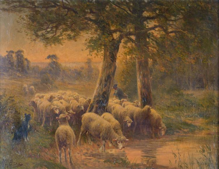 Max Breu. Shepherd Leading Sheep, oil on canvas