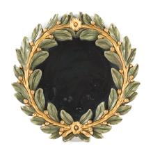 Italian carved and painted wood framed mirror