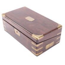 Victorian brass-bound mahogany writing desk