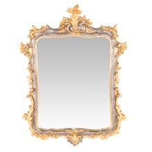 Italian Rococo style gilt and silvered wood mirror