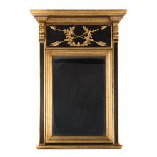Louis XVI style ebonized & gilt trumeau