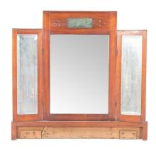 Art Deco mahogany bronze inlaid vanity mirror
