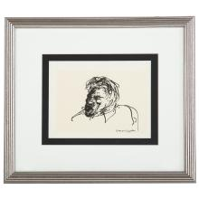 Aaron Sopher. Study of a Man, ink