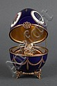 Faberge Limoges gilt metal mounted porcelain musical egg