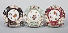 Six German porcelain reticulated dessert plates