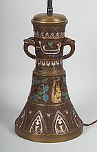 Japanese brass and cloisonné lamp