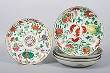 Five Chinese Famille Rose porcelain plates