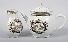 Chinese Export grisaille teapot & cream jug