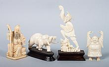 Four oriental carved ivory figures