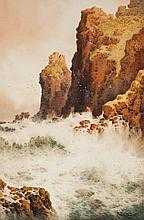 Arthur Suker. Waves Crashing on Cliffs, watercolor