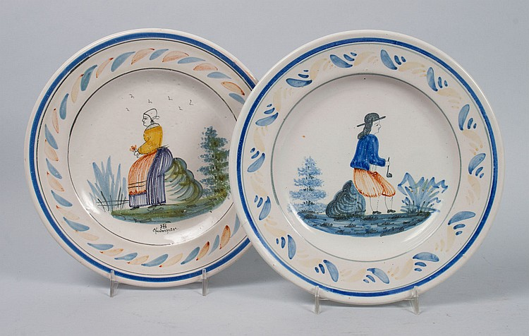 Two Quimper faience plates