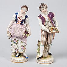 Pr of German porcelain flower and fruit gatherers