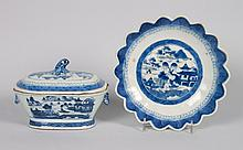 Chinese Export Canton porcelain tureen and bowl