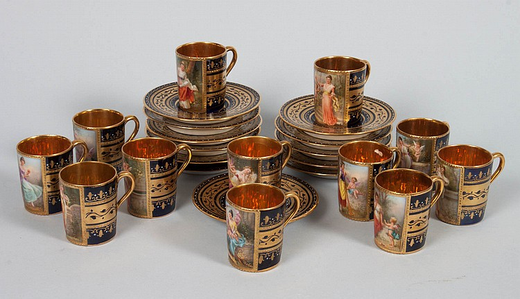 12 Vienna porcelain demitasses cups and saucers