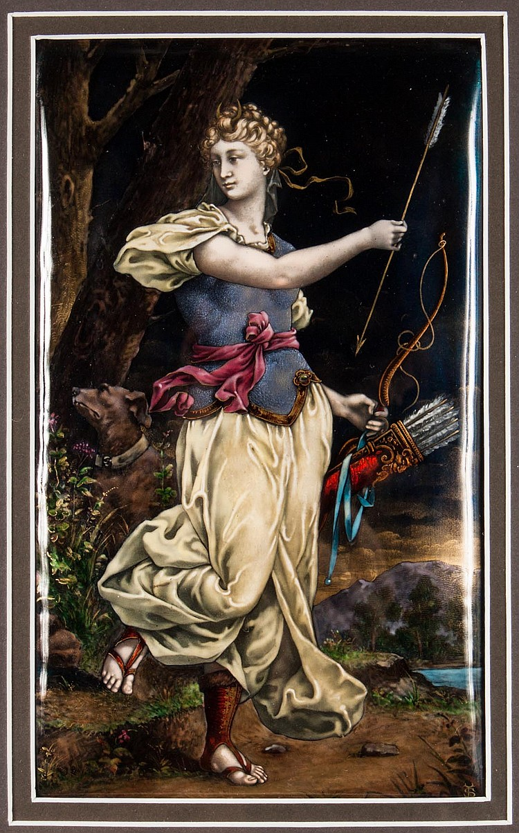 Limoges enamel on copper plaque: Artemis