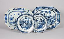 Four Chinese Export porcelain plates and platters