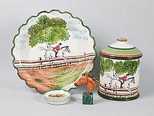Group of equestrian theme china articles