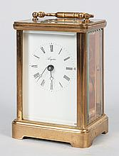 Angelus brass and glass carriage clock