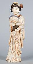 Japanese carved ivory courtesan