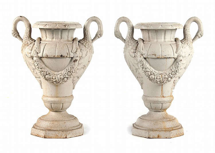 Pair of Classical style cast-iron garden urns