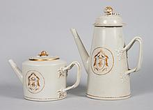 Chinese Export lighthouse coffee pot and teapot