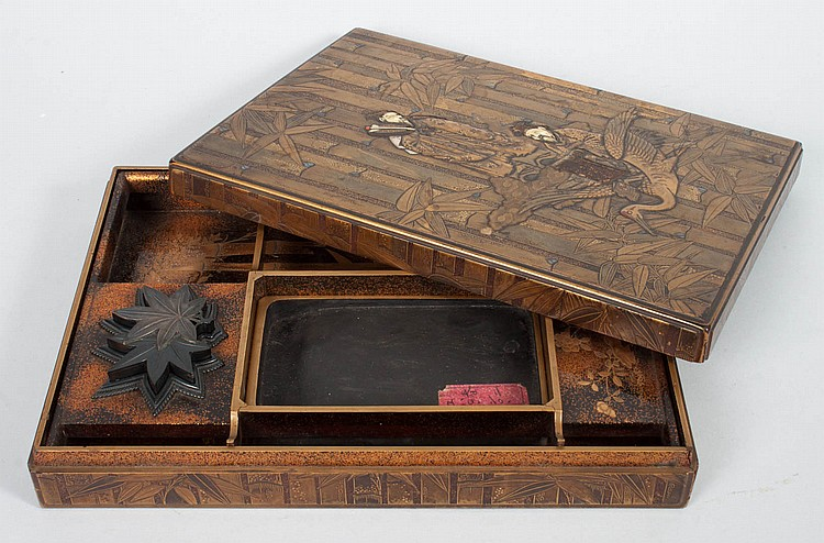 Japanese lacquer scholar's writing box