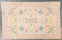 Portuguese needlepoint rug, approx. 5.9 x 9