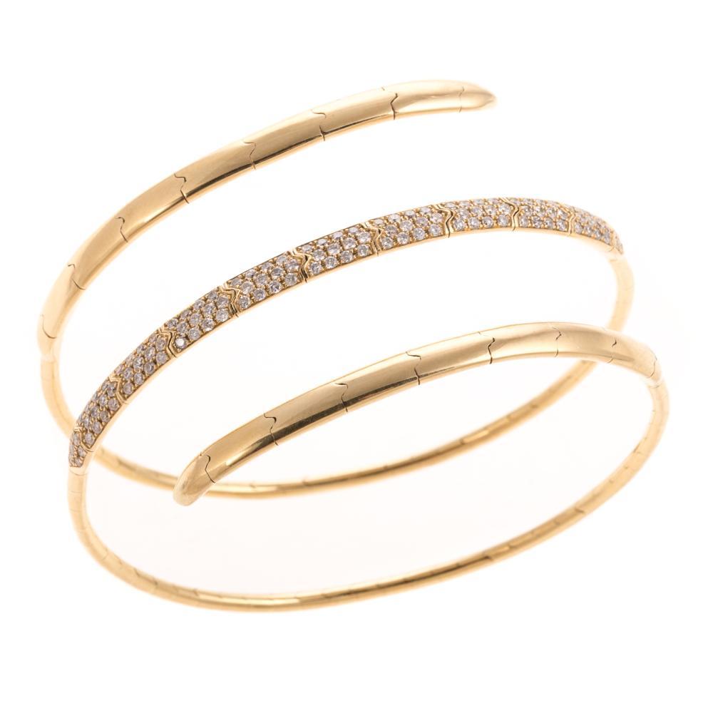A Flexible Pave Diamond Bypass Bracelet in 18K