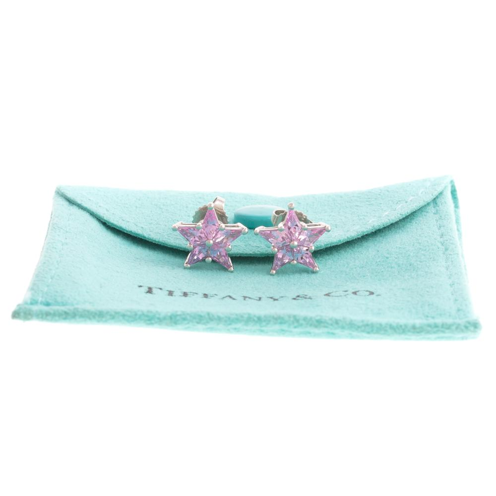 A Pair of Pink Sapphire Earrings by Tiffany & Co.