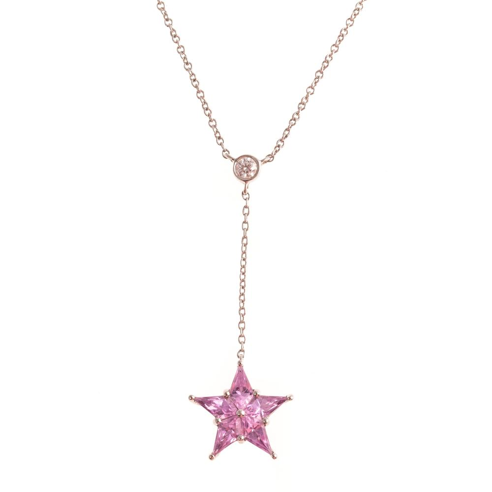 A Ladies Pink Sapphire Necklace by Tiffany & Co.