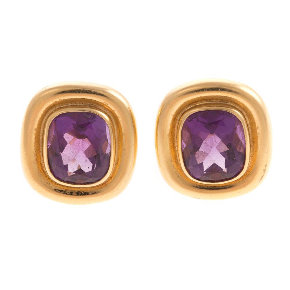A Pair of Tiffany & Co. Amethyst Earrings in 18K