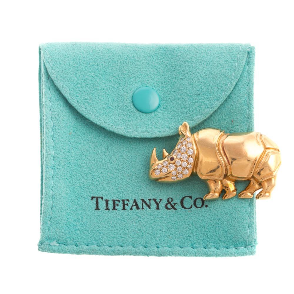 A Tiffany & Co Rhino Pin with Diamonds in 18K
