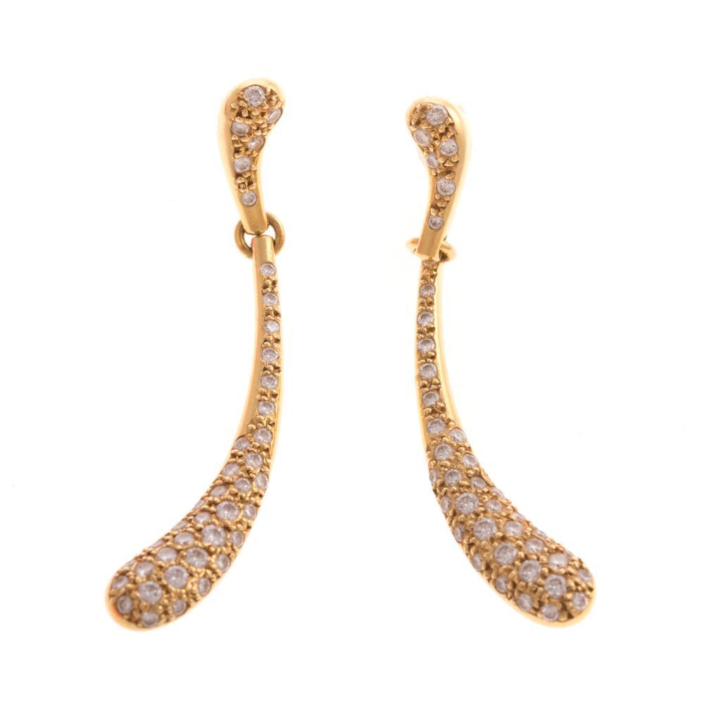 A Pair of Tiffany Diamond Drop Earrings in 18K