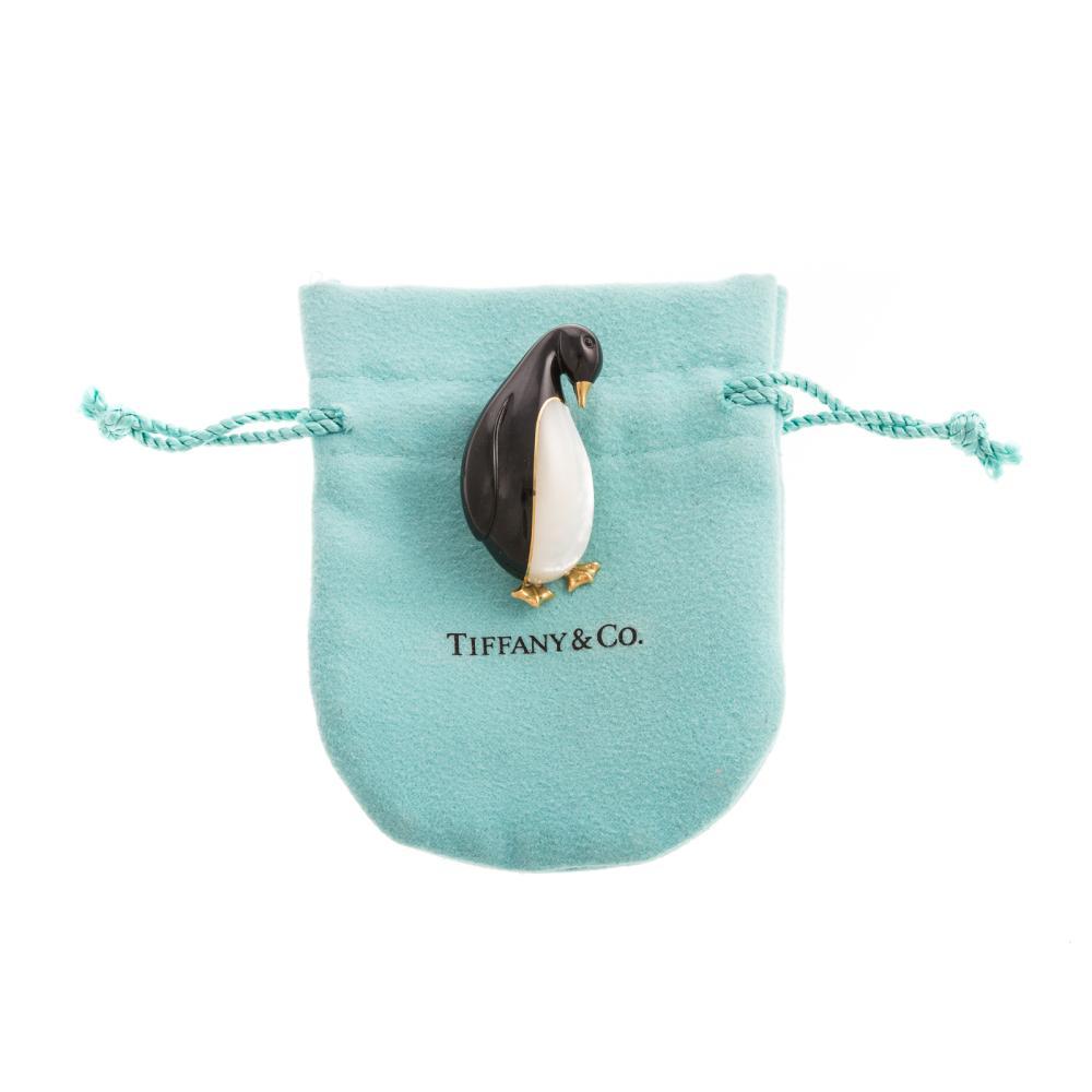 A 1970's Tiffany & Co Emperor Penguin Pin in 18K