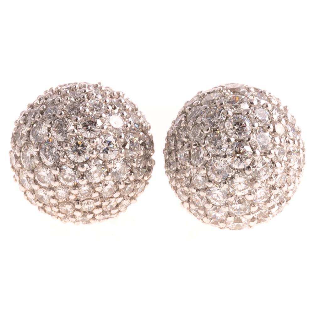 A Ladies Pair of Pave Diamond Earrings in 18K