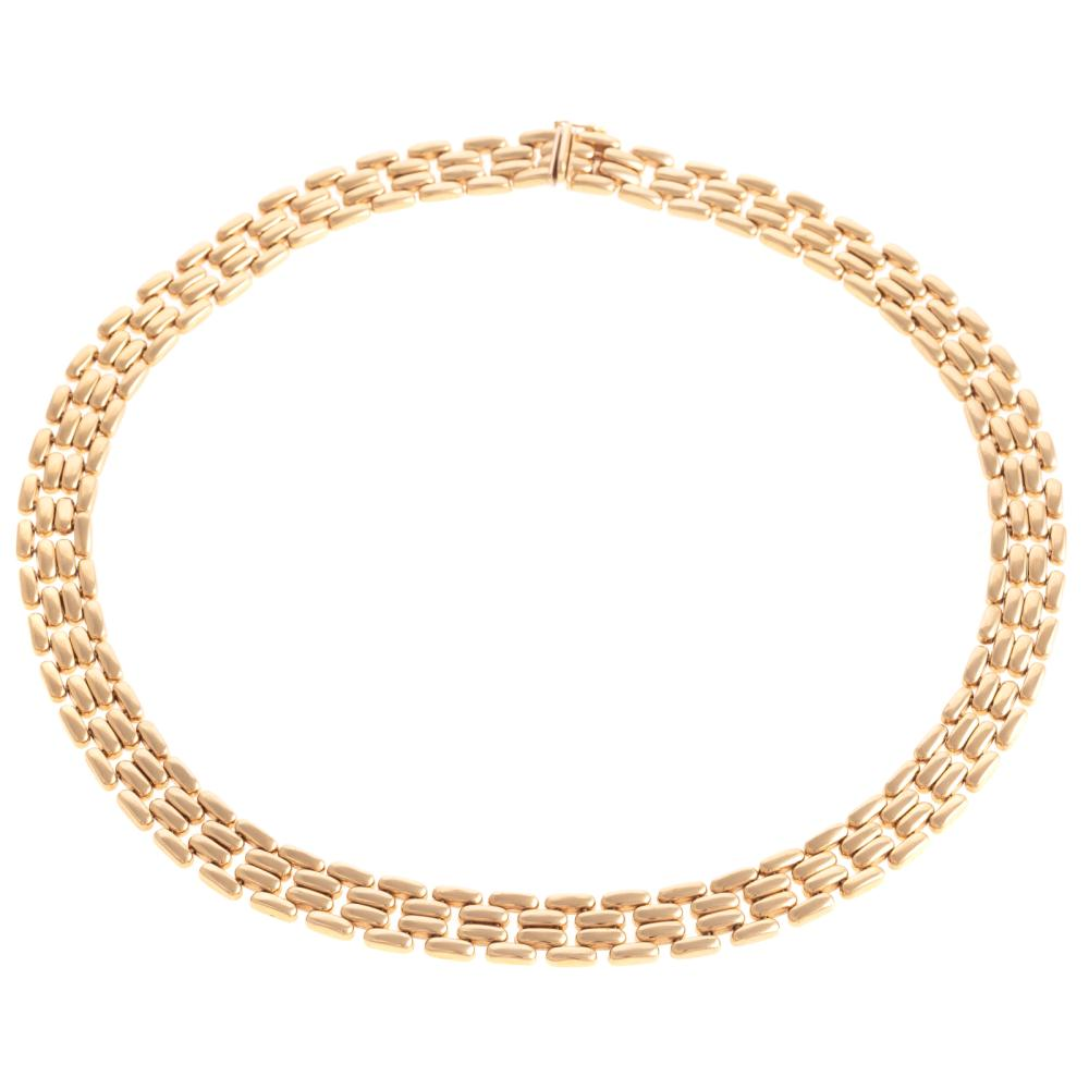 A Ladies Panther Link Necklace in 14K Gold